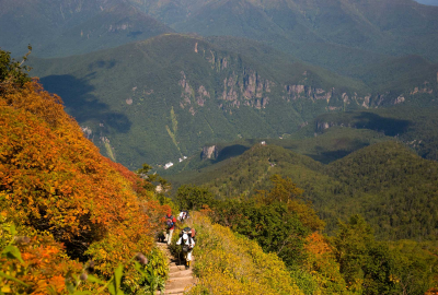 the upper section of the Kurodake hike in autumn