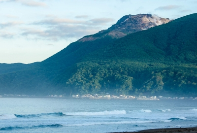todohokke beach with Mt. Esan, Hakodate, Hokkaido