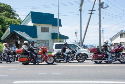 bike club riders in rankoshi hokkaido japan, harley davidson