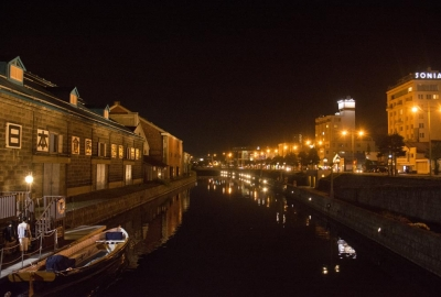otaru canel at night in winter