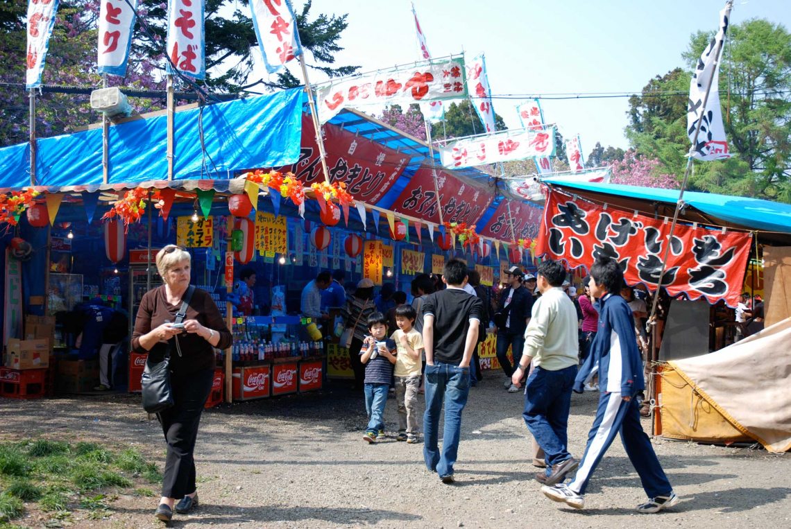 matsumae spring festival at matsumae castle, hakodate, hokkaido