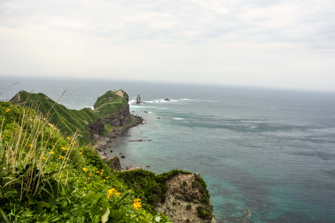 kamui misaki on a windy day in spring, hokkaido